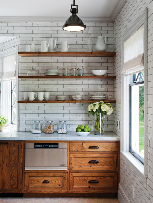 country feel with wood shelves and subway tiles