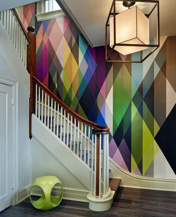 Geometric accent wall for staircase