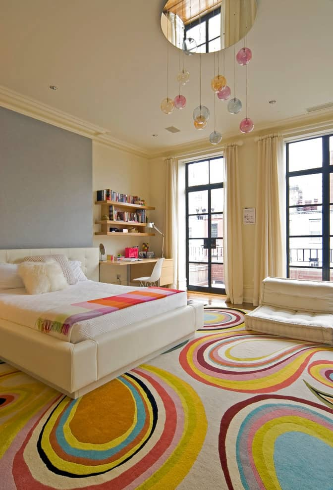 Contemporary kids room with colorful carpet Modern Bedroom Designs for Girls