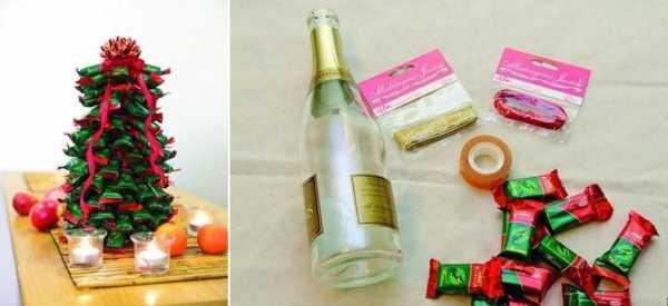 Как обклеить бутылку шампанского конфетами – Как украсить бутылку шампанского конфетами своими руками